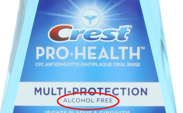 Crest Pro-Health label indicates it is alcohol-free