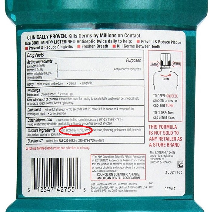 Listerine mouthwash label shows alcohol content