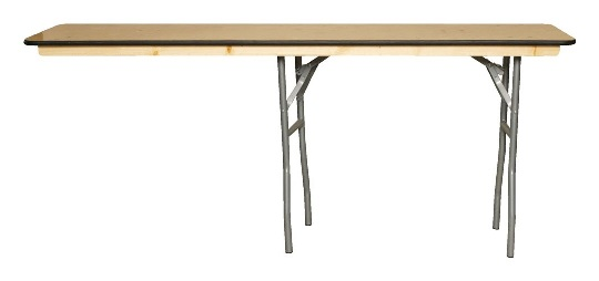 An unstable table with legs in the middle and on one end