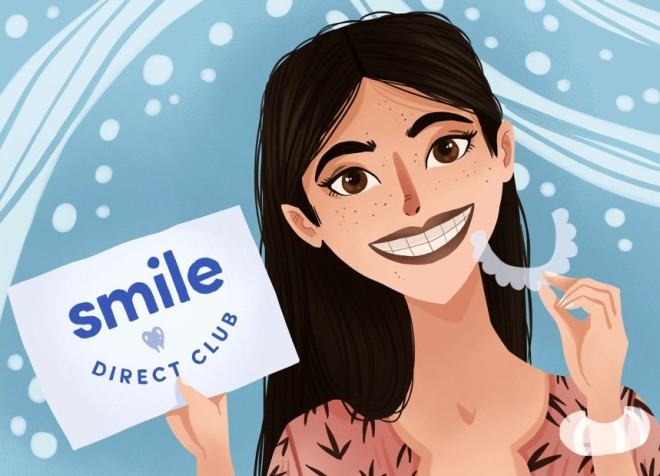 "A drawing of a girl holding an aligner in one hand and a sign that says ""Smile Direct Club"" in the other"