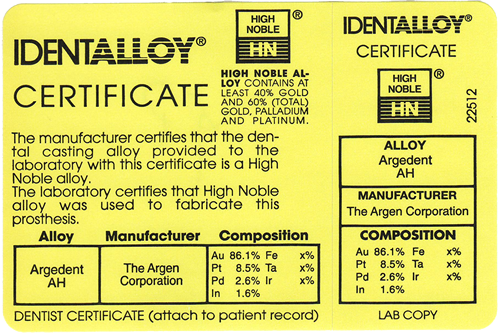 An example of an identalloy certificate. Its contents are explained in the text.